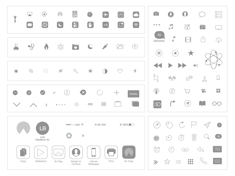 iOS 7 Icons: Natives and Basics