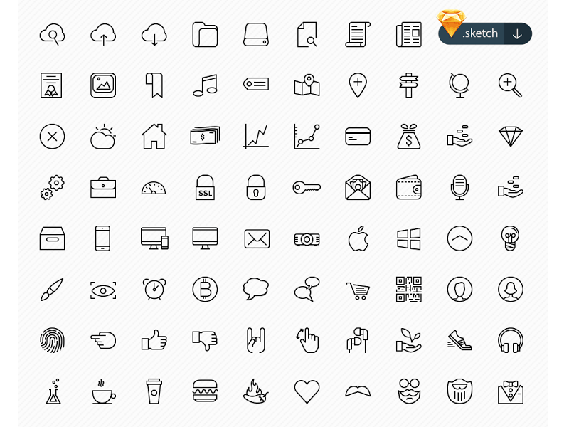 Free 50 Sketch Business Icons Set Sketch freebie - Download free ...