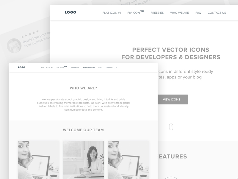 Iconshop Wireframes
