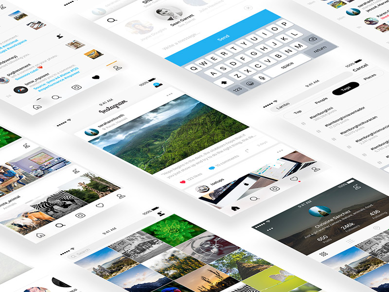Instagram Based UI Kit Sketch freebie - Download free