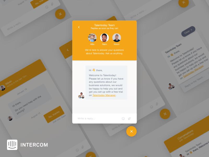 Intercom Messenger UI Sketch freebie - Download free