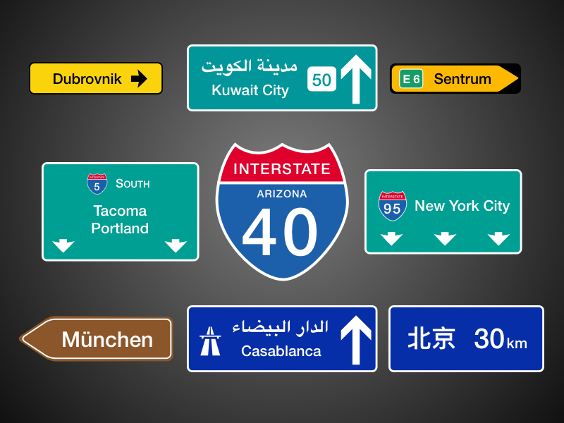 International Road Signposts
