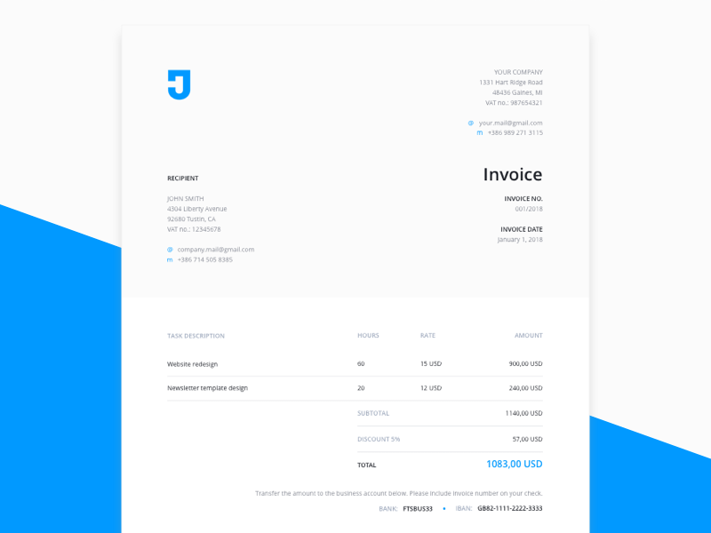 Invoice Template Sketch freebie - Download free resource for Sketch ...