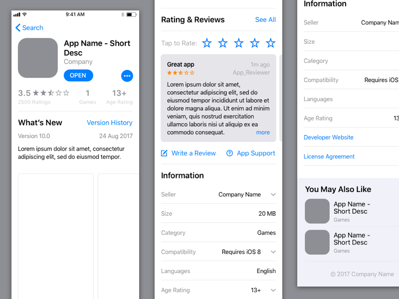 iOS 11 App Store Sketch freebie - Download free resource for