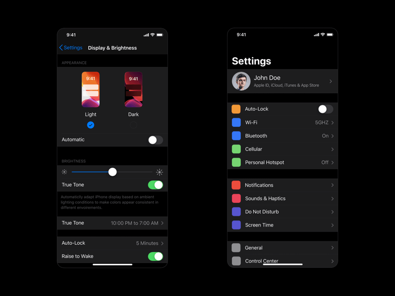 iOS 13 Dark Mode Settings