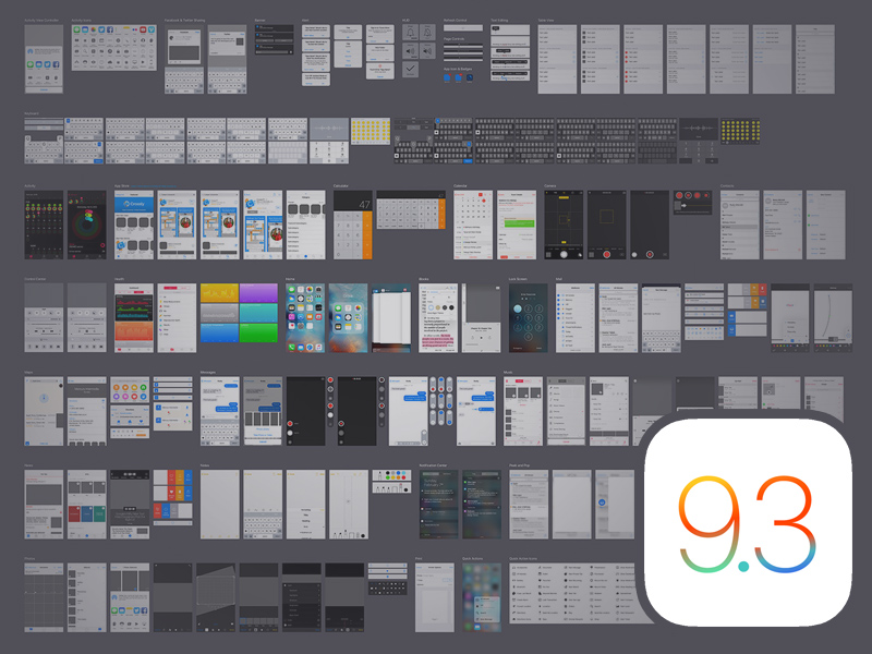iOS 9 3 iPhone GUI Kit Sketch freebie - Download free resource for
