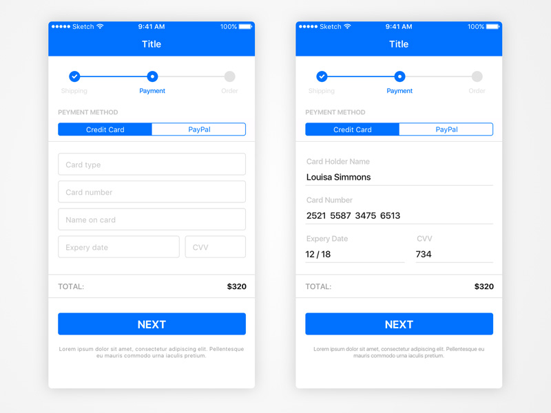 iOS Basic Payment View