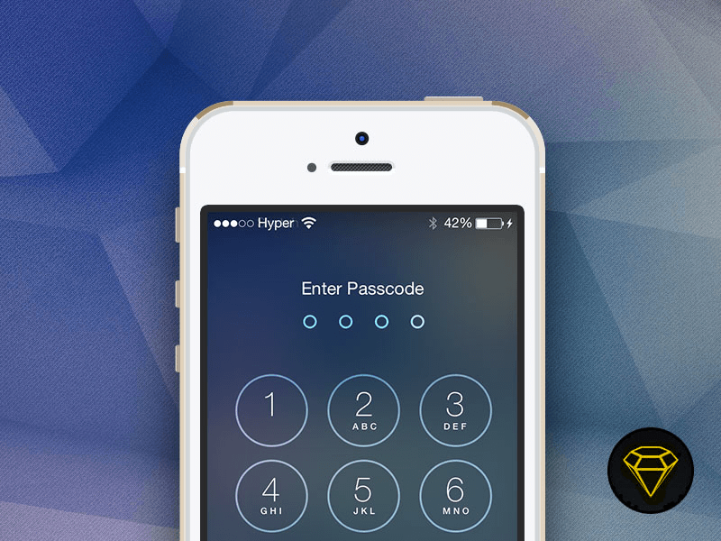 iOS 7 Lock with Passcode screen