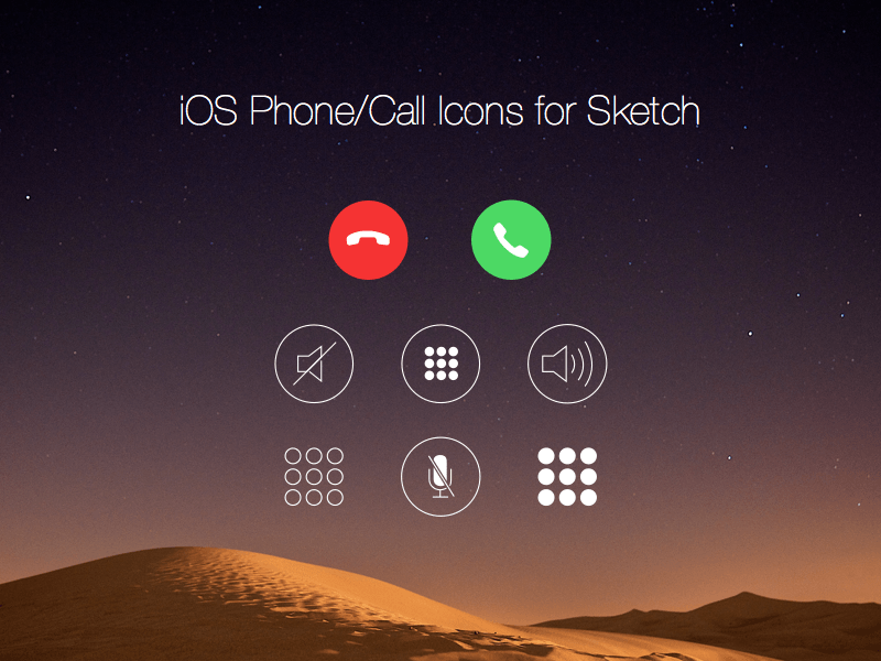 Ios Call Screen Icons Sketch Freebie Download Free
