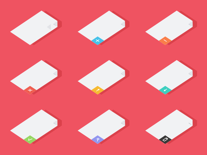 9 Isometric Document Icons