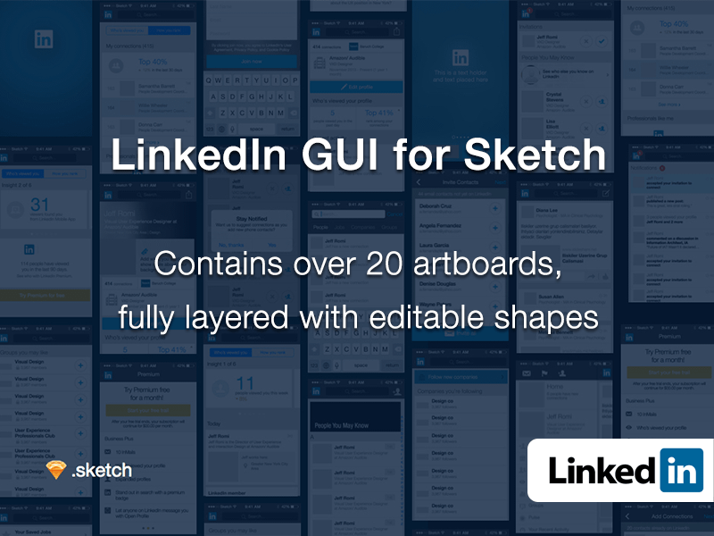 LinkedIn GUI for Sketch