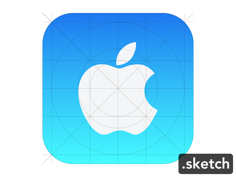 Apple icon ios7 guide sketch freebie download free for Iphone app logo template
