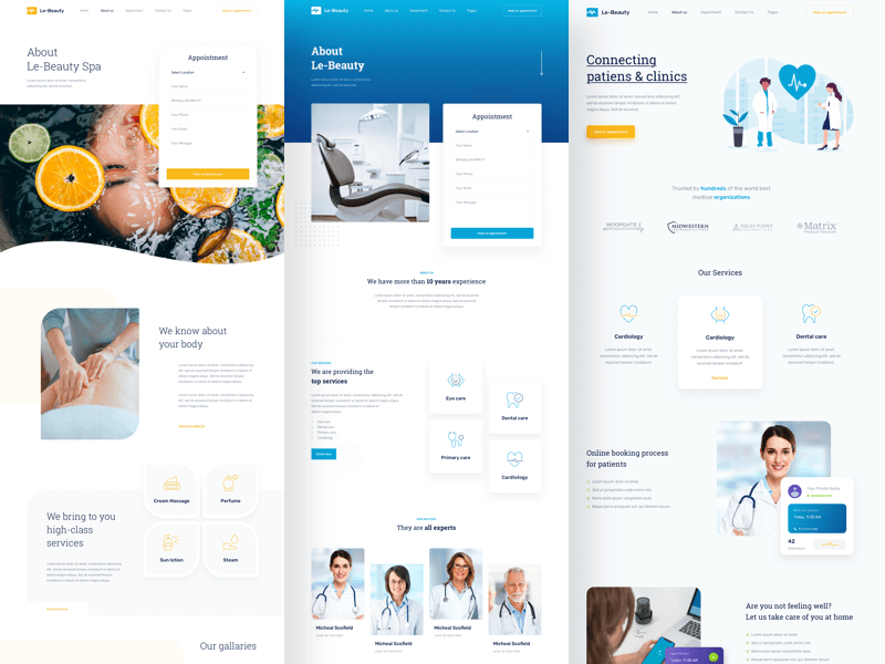 Medical and Health Services Landing Pages