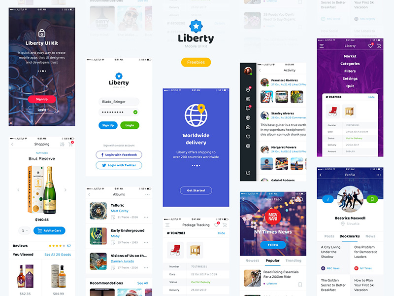 Liberty Mobile UI Kit Sample