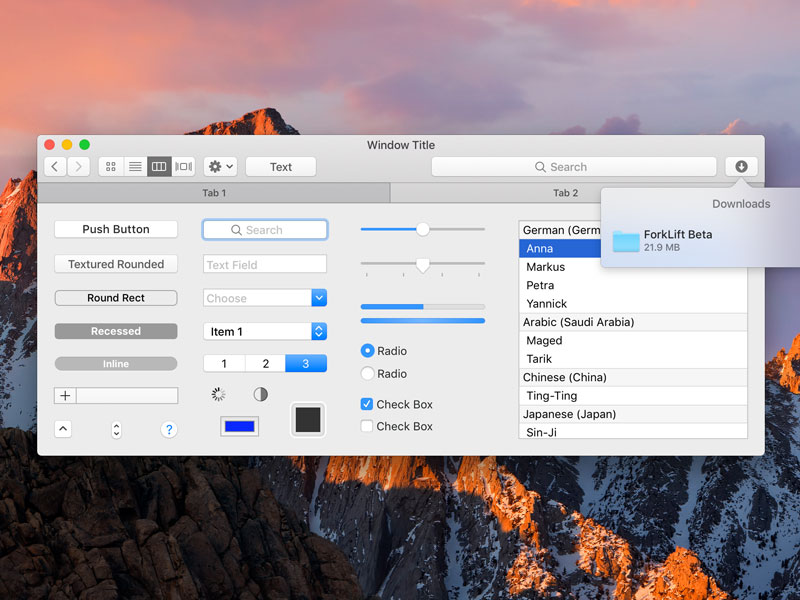 Mini macOS Sierra UI Kit