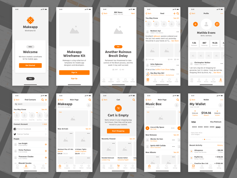 Makeapp Wireframe Kit Demo