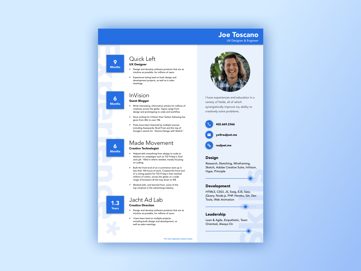 Material Design Resume Style Sketch freebie - Download free resource