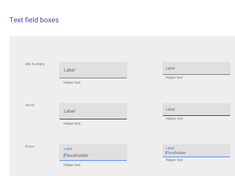 Material Design Textfield Boxes
