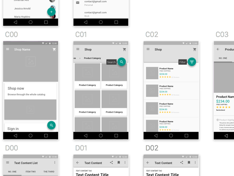 material design wireframe kit sketch freebie   download