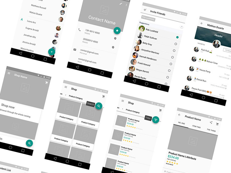 Material Design Wireframe Kit v2 Sketch freebie - Download free ...