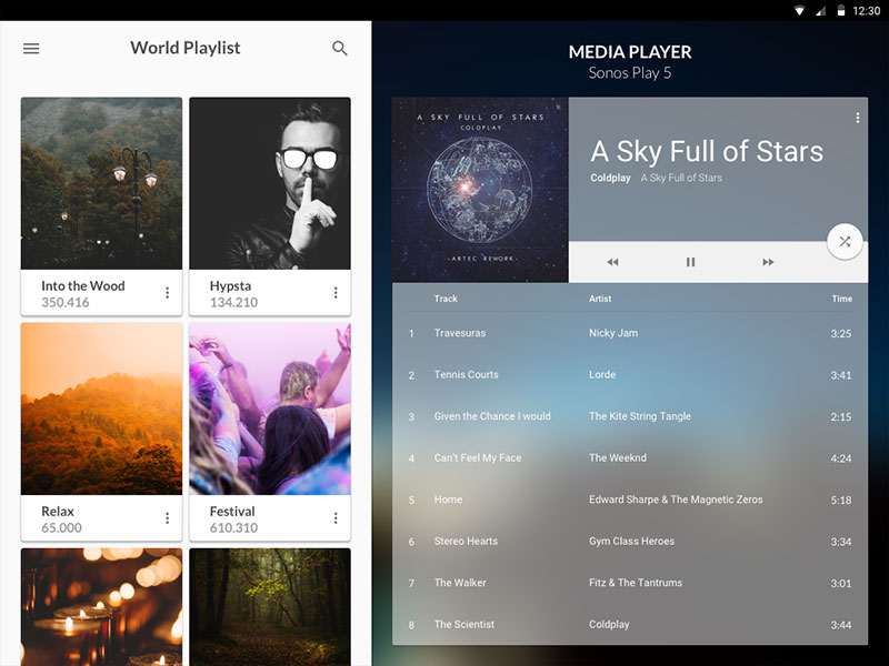 Material Media Player UI