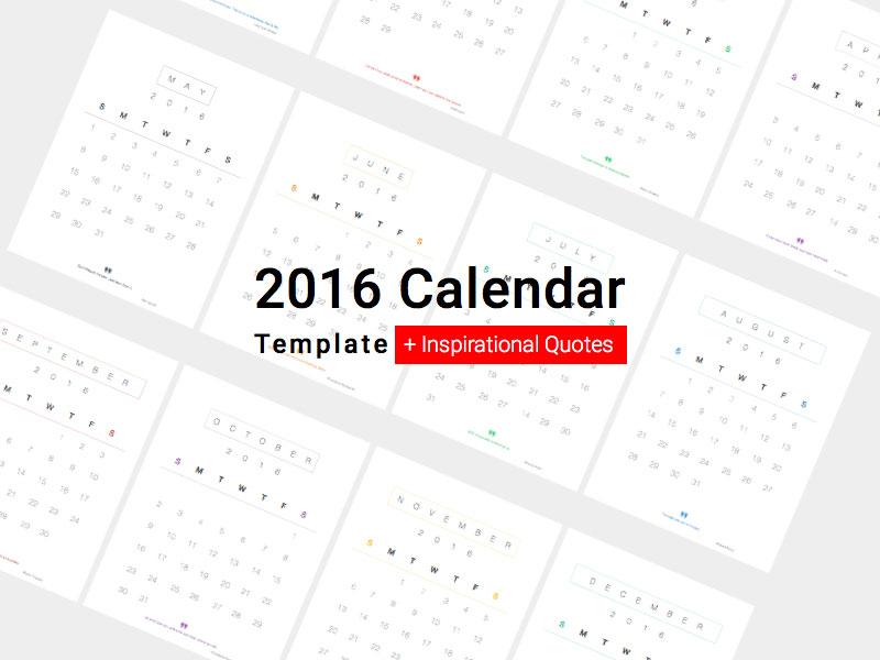 Minimal Calendar 2016 and Inspirational Quotes Sketch