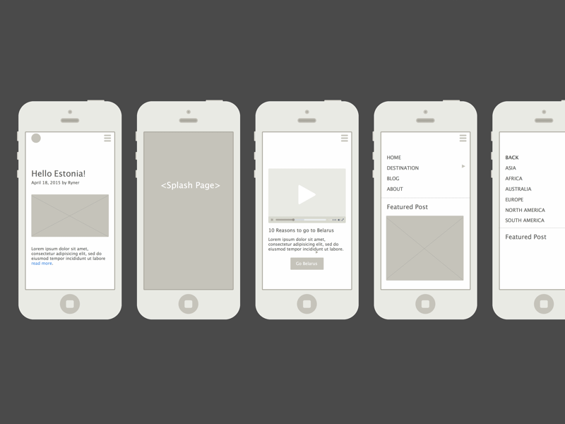 Travellist Wireframe Mocks