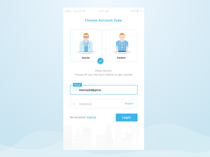 login form and illustration sketch freebie
