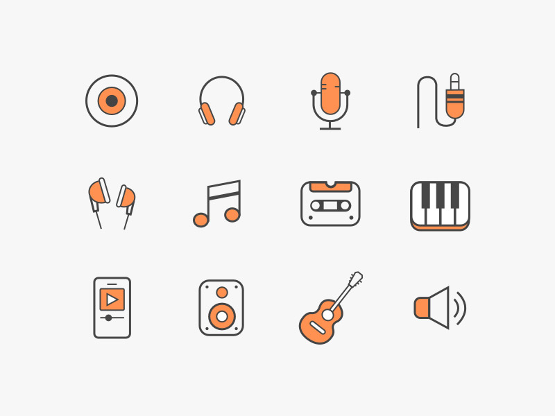 1829 Colorful Music Icon Set Sketch Freebie Resource on iphone ios 9