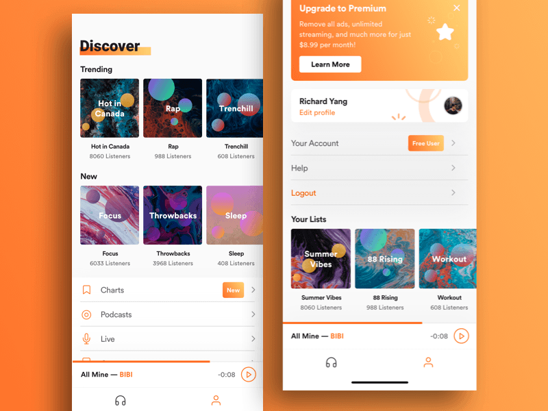 Music Streaming App Concept