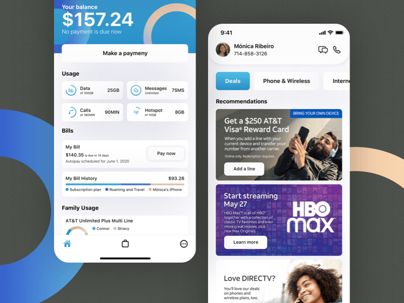 My AT&T Account Screen Redesign