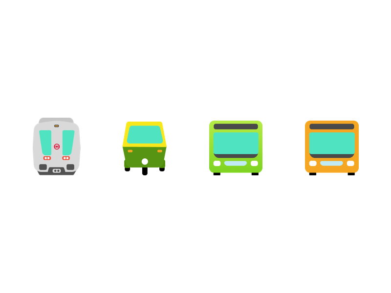 New Delhi Public Transport Icons