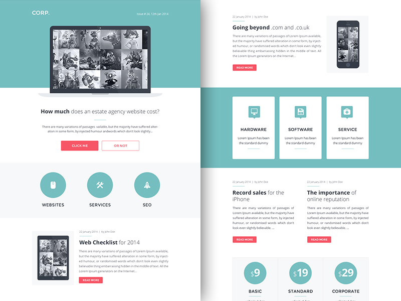 Rocketway email templates sketch freebie download free for Free online newsletter templates for email