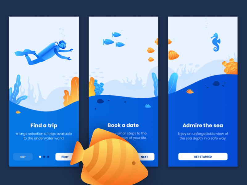 Diving Tours Onboarding Screens