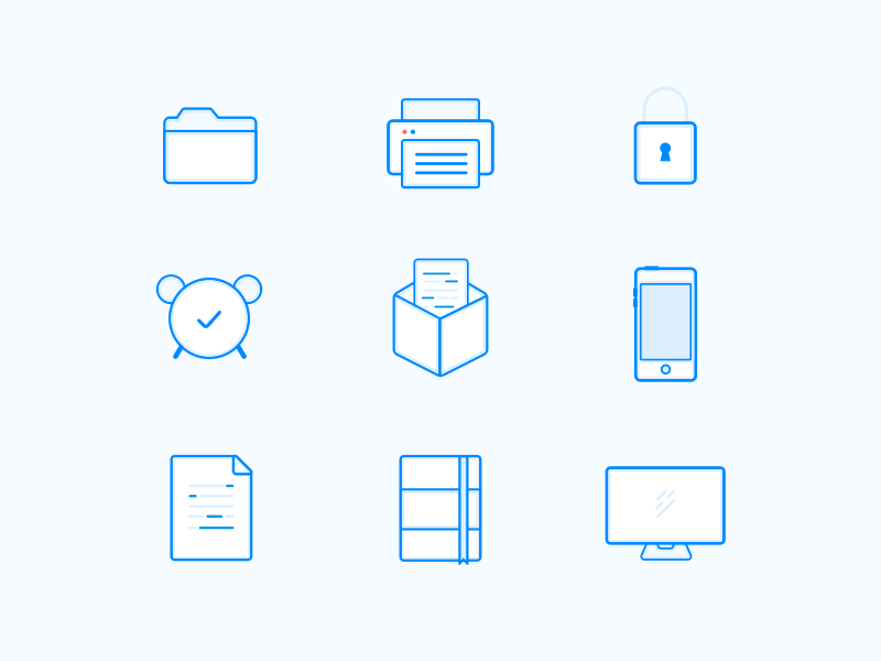 Office Outline Icons Sketch freebie - Download free resource