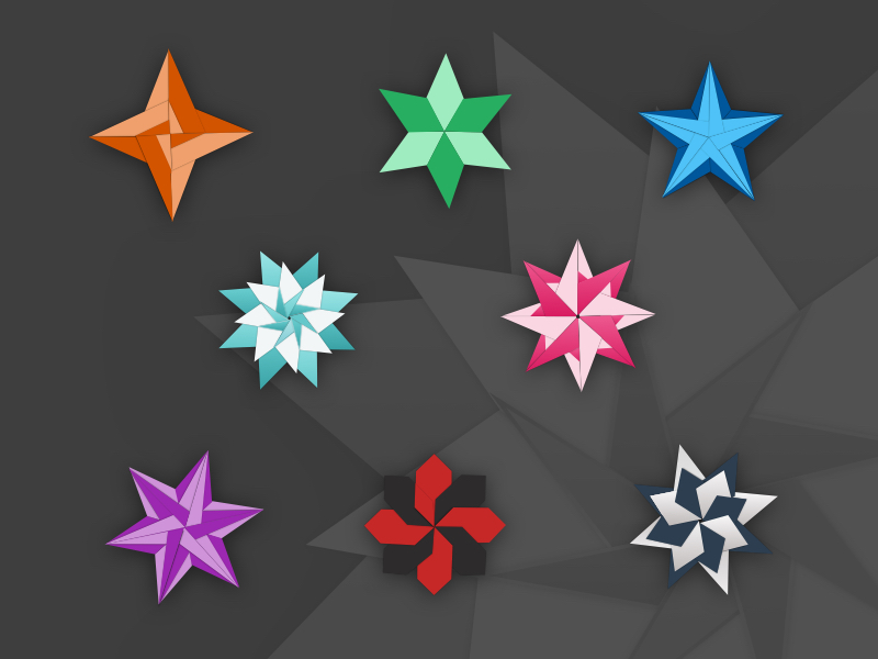 origami stars illustrations sketch freebie download free