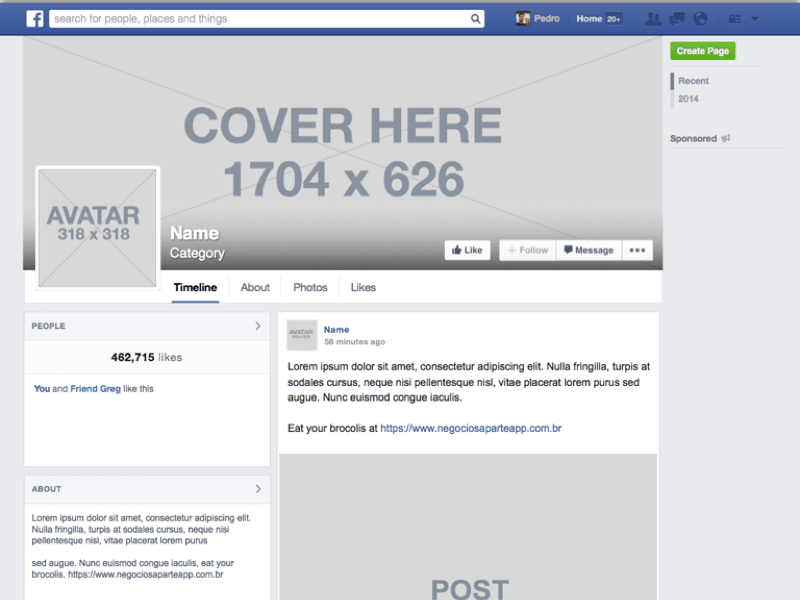 Facebook Page Resources (In Retina Resolution)