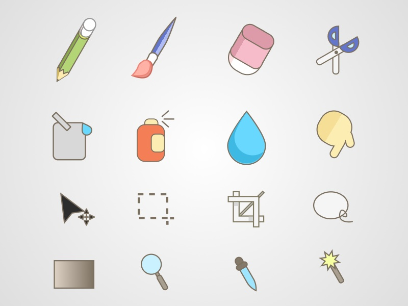Paint Tools Icon Set