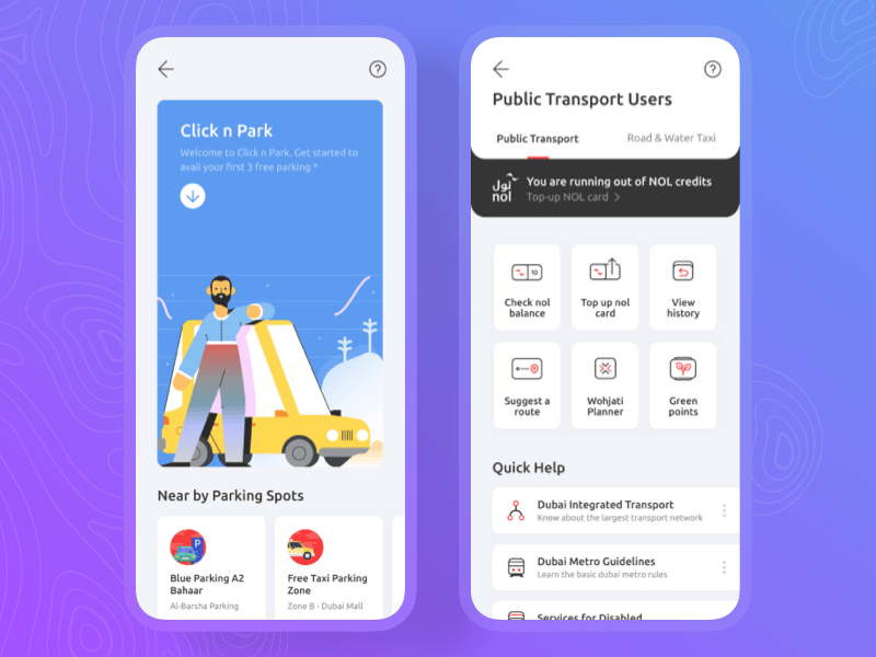 Transport and Parking App Concept