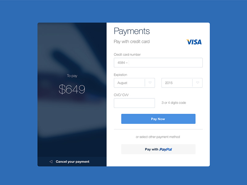 Web Payments Form Sketch Freebie - Download Free Resource For