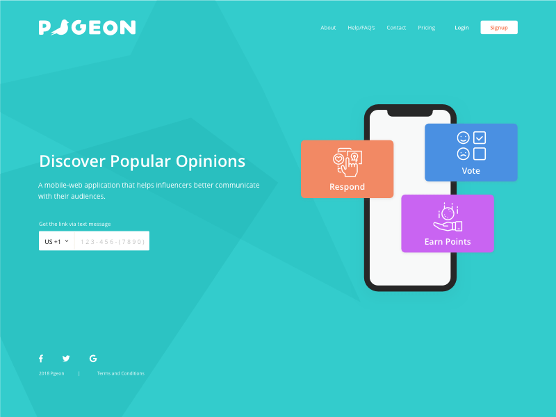 Pgeon App Landing Page
