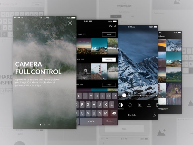 UI and Wireframe Kit for Photo App