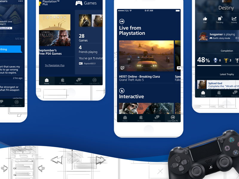 Playstation App Redesign Ui Kit Sketch Freebie Download