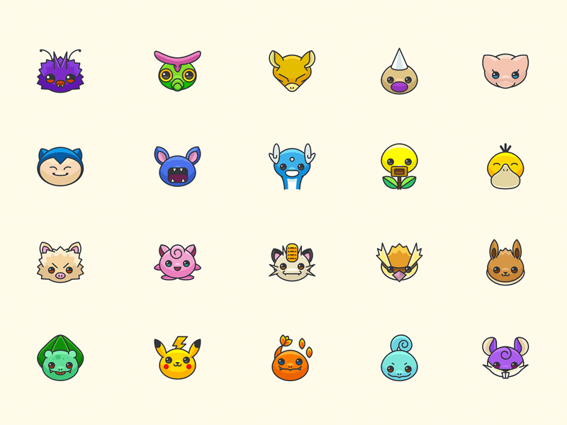Colorful Pokemon Go Icons