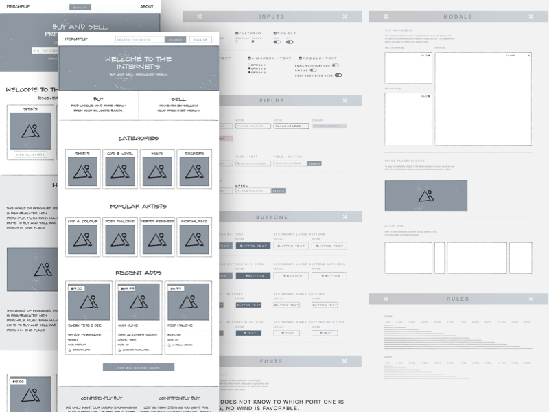 Low Fidelity Wireframing System