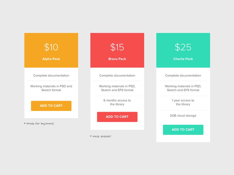 Pricing Table Sketch Freebie Download Free Resource For