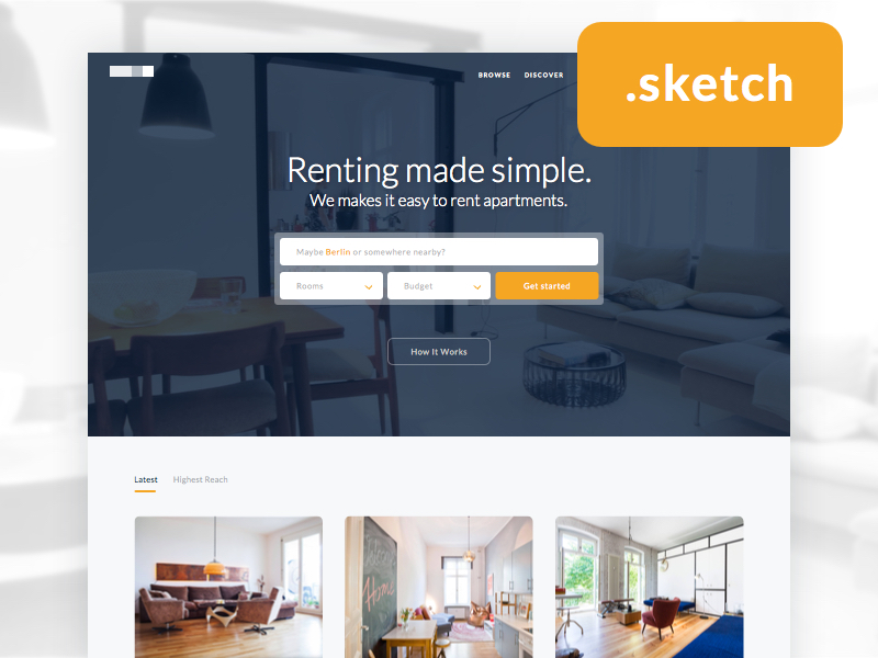 Real Estate Landing Page Sketch Freebie Download Free
