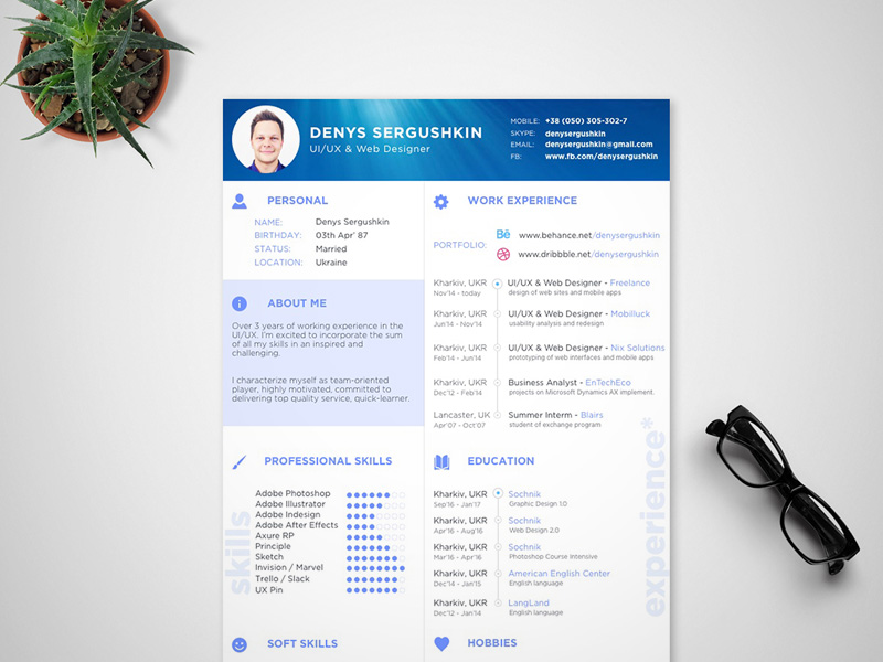 cv template sketch freebie