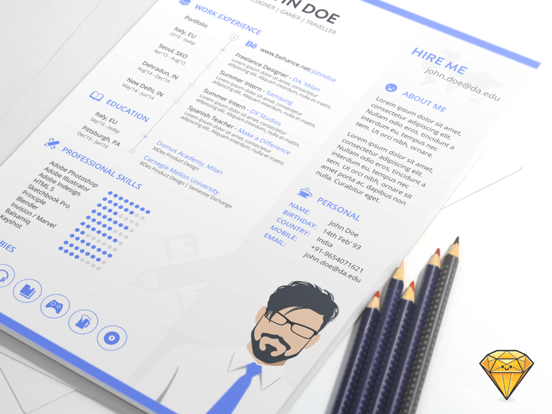 Resume Template Sketch freebie - Download free resource for Sketch ...