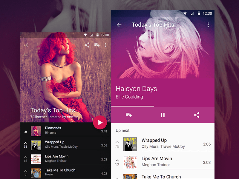 Material Design Music Player Sketch Freebie Download Free Resource